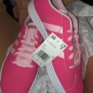 Adidas pink three stripe sneakers